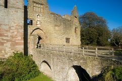 Old bridge and the castle. Ludlow castle Stock Image