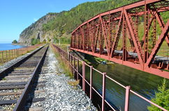 Old bridge at the Circum-Baikal Railway, Russia. Stock Photography