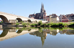 Old Bridge and the city of Regensburg, Germany, Europe Royalty Free Stock Photos