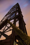 Old bridge in Cleveland. Sunset time royalty free stock photo