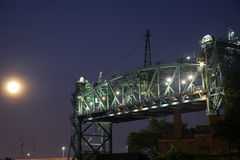 Old bridge in Cleveland. And Full Moon Royalty Free Stock Photos