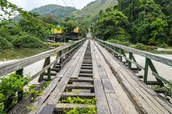 Juquei , SP , Brazil. Old bridge in a condition unfit for use. Juquei , SP , Brazil Royalty Free Stock Photography