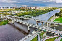 Old bridge and construction new one. Tyumen.Russia Royalty Free Stock Images