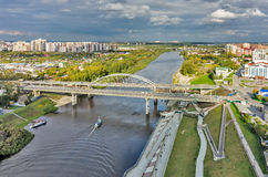 Old bridge and construction new one. Tyumen.Russia Stock Images