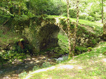 Old bridge covered by moss. An old bridge, in a forest, crossing a stream and covered by moss Stock Images