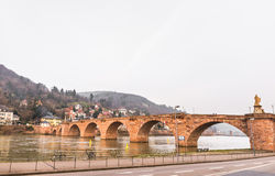 The old bridge cross River Neckar in Heidelberg Stock Photos