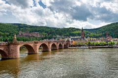 Old Bridge Crossing Neckar River to Old Town Stock Image