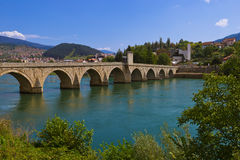 Old Bridge on Drina river in Visegrad - Bosnia and Herzegovina. Architecture travel background royalty free stock photography