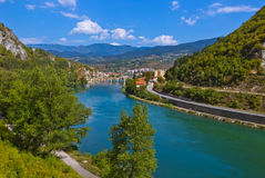 Old Bridge on Drina river in Visegrad - Bosnia and Herzegovina. Architecture travel background stock image