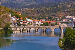 Old Bridge on Drina river in Visegrad - Bosnia and Herzegovina. Architecture travel background stock photos