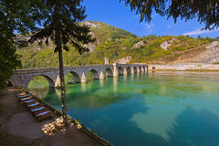 Old Bridge on Drina river in Visegrad - Bosnia and Herzegovina. Architecture travel background royalty free stock image