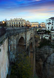 Old bridge in early morning at Ronda Royalty Free Stock Photos