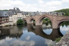 The old bridge in Espalion. France Royalty Free Stock Photos