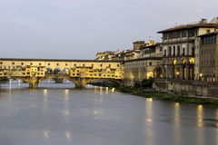 Old bridge Ponte Vecchio fi. The Old Bridge of Florence at the first light of the morning royalty free stock photo