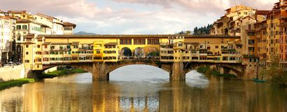 Old Bridge in Florence, panorama view, Italy Royalty Free Stock Images
