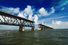 Old Bridge in the Florida Keys Royalty Free Stock Photos