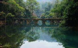 Beautiful lakes, old bridges in the forests stock photos