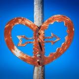 Old bridge heart with an arrow sculpture landmark. Location - Wellington, New Zealand Royalty Free Stock Photo