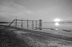 Old bridge at jeram beach in black and white mode Royalty Free Stock Photography