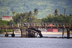 Old bridge in Kampot. Cambodia Royalty Free Stock Images