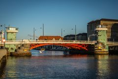Old bridge Knippels bridge in Copenhagen habor. Denmark royalty free stock photos