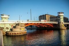 Old bridge Knippels bridge in Copenhagen habor. Denmark royalty free stock image