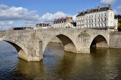 The old bridge at Laval in France Royalty Free Stock Images