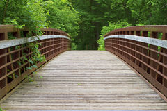 Old bridge leading into dark forest Royalty Free Stock Photo