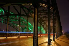 Lighted bridge in Gdańsk. Old bridge with lights in Gdańsk Royalty Free Stock Photos