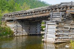 Old bridge of logs Royalty Free Stock Photography
