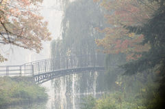 Old bridge in misty autumn park Stock Photos