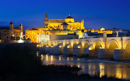 Old  bridge and  Mosque-cathedral of Cordoba Stock Photography