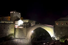 Old Bridge in Mostar. At night, Bosnia and Herzegovina. The bridge was reconstructed in 2003 after the original from 1556 Royalty Free Stock Images