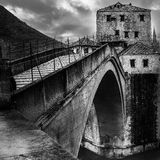 Old Bridge in Mostar. In black and white version Royalty Free Stock Image