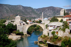 The Old Bridge, Mostar, Bosnia-Herzegovina. This is a photo of the Old Bridge of beautiful Mostar, with its two towers, River Neretva and the Old City Stock Photography