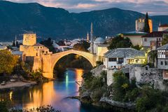 Old Bridge in Mostar, Bosnia and Herzegovina Royalty Free Stock Photography