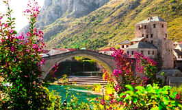 Old bridge. In Mostar is builded in XV. century and it`s one of the most beautifull bridges in SE Europe.  Mostar is lovely and peacfull place for visiting Stock Photos