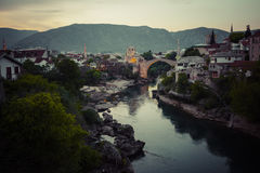 Old bridge in Mostar at night . Bosnia and Herzegovina Royalty Free Stock Images