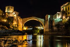 Old Bridge in Mostar. Shot of Old Bridge in Mostar at night Stock Photography