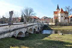 The old bridge and Namest nad Oslavou, Czech Republic, Europe Royalty Free Stock Photos