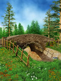 Old bridge near the forest stock illustration