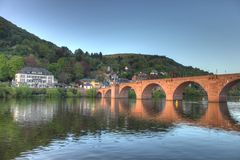 Old bridge on Neckar river in Heidelberg. This is a very beautiful photo with a special angel to shot the old bridge in Heidelberg, with the sunset and proper Stock Image
