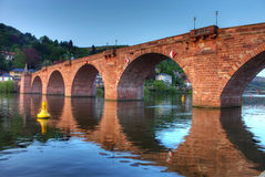 Old bridge on Neckar river in Heidelberg. This is a very beautiful photo with a special angel to shot the old bridge in Heidelberg, with the sunset and proper Royalty Free Stock Photography