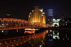 Old bridge at night. Shanghai Royalty Free Stock Photo