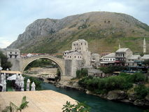Old bridge of the old city of Mostar Royalty Free Stock Images