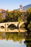 Old bridge over Arga river. Pamplona, Navarre Royalty Free Stock Photo