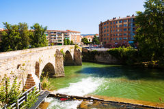 Old bridge over Arga river in  Pamplona, Navarre Stock Image