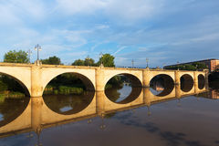 Old bridge over Ebro river. Logrono Stock Photos