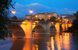 Old bridge   over Ebro river in night. Logrono Royalty Free Stock Images