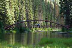 An old bridge over a lake. In a forest Royalty Free Stock Photos